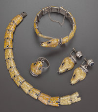 FOUR PIECE MARGOT DE TAXCO MEXICAN SILVER AND YELLOW ENAMEL JEWELRY SUITE, Taxco, Mexico, circa 1950 Marks: MAR