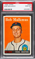 Baseball Cards:Singles (1950-1959), 1958 Topps Bob Malkmus #356 PSA Gem Mint 10 - Pop One! ...