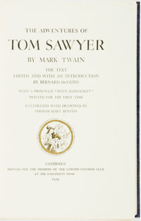 [Featured Lot] Thomas Hart Benton, illustrator. SIGNED. Mark Twain. The Adventures of Tom Sawyer. <