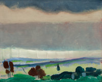 ARTHUR BEECHER CARLES (American, 1882-1952) Landscape, Stormy Sky, circa 1912 Oil on panel 15 x 1