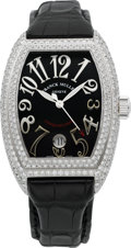 Timepieces:Wristwatch, Franck Muller Ref. 8002 SC D, Very Fine Large 18k White Gold & Diamond Conquistador. ...
