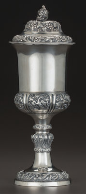 AN AUSTRO-HUNGARIAN SILVER AND SILVER GILT COVERED FOOTED CUP, circa 1890 Marks: MATTHIAS, 12 10-1/2