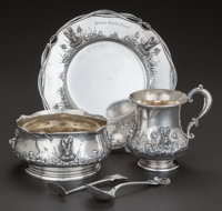 A FIVE PIECE REDLICH & CO. SILVER AND SILVER GILT CHILD'S SET, New York, New York, circa 1900 Marks: (lion erase...