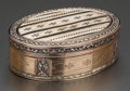 Silver Smalls:Snuff Boxes, A CONTINENTAL 18K ROSE AND YELLOW GOLD BOX, circa 1890. Marks: M& C (partially effaced). 7/8 x 2-3/4 x 2 inches (2.2 x ...