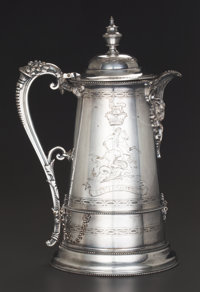 A VICTORIAN SILVER-PLATED HOT WATER URN, circa 1875 Marks: JR., &, S, (leopard's head), EP, BY HER M