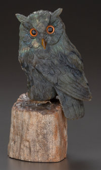 AN ASPREY CARVED LABRADORITE, TIGER'S EYE AND PETRIFIED WOOD FIGURE OF AN OWL, London, England, late 20th century