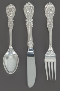 A THREE PIECE REED & BARTON FRANCIS I PATTERN SILVER YOUTH PLACE SETTING, Taunton, M