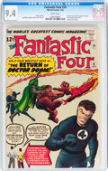 Silver Age (1956-1969):Superhero, Fantastic Four #10 (Marvel, 1963) CGC NM 9.4 White pages....