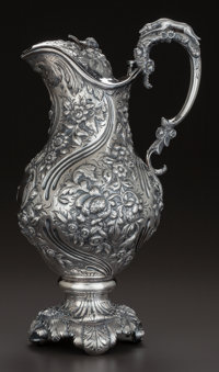 A SAMUEL KIRK SILVER WATER PITCHER WITH HINGED LID, Baltimore, Maryland, circa 1830-1846 Marks: S.K., 11OZ