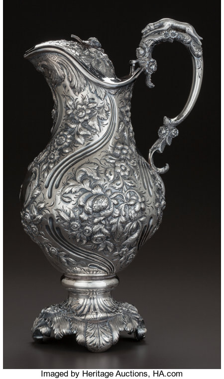 A SAMUEL KIRK SILVER WATER PITCHER WITH HINGED LID, Baltimore,  Maryland, circa 1830-1846 Marks: S.K., 11OZ. 14-3/8 in...