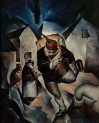 THOMAS DUNCAN BENRIMO (American, 1887-1958) Running Man, circa 1918-25 Oil on canvas 30 x 24 inch