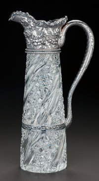 A GORHAM SILVER AND CUT-GLASS EWER, Providence, Rhode Island, circa 1875 Marks: (lion-anchor-G), S1118, STERLIN