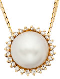 Estate Jewelry:Pendants and Lockets, Mabe Pearl, Diamond, Gold Pendant-Necklace. ...