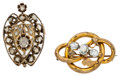 Estate Jewelry:Brooches - Pins, Diamond, Aquamarine, Gold Pendant-Brooches. ...