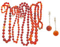 Estate Jewelry:Necklaces, Carnelian, Gold, Silver, Base Metal Necklaces. ...