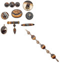 Estate Jewelry:Lots, Agate, Silver and Gold Plated Brooches. ...