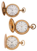 Timepieces:Pocket (post 1900), Three Hunter's Case Pocket Watches. ... (Total: 3 Items)