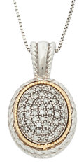 Estate Jewelry:Pendants and Lockets, Diamond, Gold, Sterling Silver Pendant-Necklace. ...