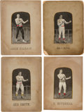 Boxing Cards:General, Circa 1888 Thomas Stevens Stevengraph Boxer Silks Complete Set (4)....