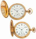 Timepieces:Pocket (post 1900), Hampden & Elgin Hunter's Cases Pocket Watches Runners. ...(Total: 2 Items)