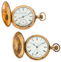 Timepieces:Pocket (post 1900), Two Elgin 18 Size Pocket Watches For Parts Or Repair. ... (Total: 2Items)