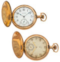 Timepieces:Pocket (post 1900), Waltham & Elgin Hunter's Case Pocket Watches For Parts OrRepair. ... (Total: 2 Items)