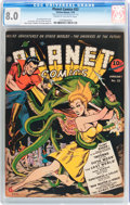 Golden Age (1938-1955):Science Fiction, Planet Comics #22 (Fiction House, 1943) CGC VF 8.0 Cream tooff-white pages....