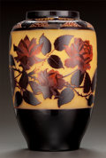 Art Glass:Other , PAUL NICOLAS OVERLAY GLASS FLORAL VASE. Circa 1920. Cameo P.Nicolas, NANCY. Ht. 12-1/2 in.. ...