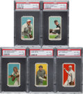 Baseball Cards:Lots, 1909-11 T206 White Borders PSA EX-MT+ 6.5 Graded Collection (5)....