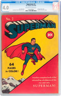 Golden Age (1938-1955):Superhero, Superman #2 (DC, 1939) CGC VG 4.0 Off-white to white pages....