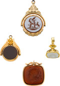 Timepieces:Watch Chains & Fobs, Four Fine Antique Gold Watch Fobs. ... (Total: 4 Items)