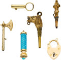 "Timepieces:Watch Chains & Fobs, Three Antique Winding Keys & Three Watch Fobs, Including One With A ""Stanhope"" Lens. ... (Total: 6 Items)"