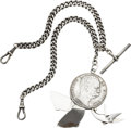 Timepieces:Watch Chains & Fobs, English Sterling Chain & 1879 Umberto I Coin Fob With Concealed Knife, File and Scissors. ...