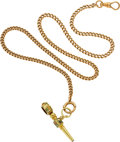 Timepieces:Watch Chains & Fobs, Gold Watch Chain With Enamel & Gold Ratchet Key. ...