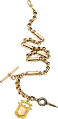 Timepieces:Watch Chains & Fobs, Antique Gold Watch Chain, Key & Fob. ...