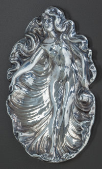 AN UNGER BROTHERS SILVER CARD TRAY, Newark, New Jersey, circa 1900 Marks: UB (interlaced), STERLING