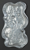 Silver Holloware, American:Desk Accessories, AN UNGER BROTHERS LADY OF THE POND PATTERN SILVER CARD TRAY,Newark, New Jersey, circa 1900. Marks: UB (inte...