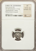 Ancients:Greek, Ancients: CARIA. Rhodes. Ca. 170-150 BC. AR hemidrachm (1.31gm)....