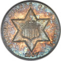 Three Cent Silver, 1867 3CS MS66 PCGS. Gold CAC....