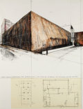 Prints, CHRISTO (Bulgarian/American, b. 1935). Wrapped Museum of Contemporary Art - Chicago (Project), 1970. Lithograph in color...