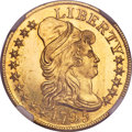 Early Half Eagles, 1795 $5 Small Eagle, BD-1, R.5, MS66 ★ NGC....