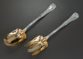 Silver Flatware, American:Tiffany, A TIFFANY & CO. WAVE EDGE PATTERN SILVER AND SILVER GILTSALAD SERVING SET, New York, New York, designed 1884. M... (Total:2 )