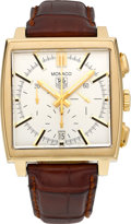 Timepieces:Wristwatch, Tag Heuer Ref. CW 5140 Gold Automatic Chronograph. ...