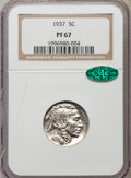 Proof Buffalo Nickels: , 1937 5C PR67 NGC. CAC. NGC Census: (327/41). PCGS Population(452/18). Mintage: 5,769. Numismedia Wsl. Price for problem fr...