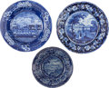 Antiques:Decorative Americana, Historical Blue Staffordshire: Three Examples. ... (Total: 3 Items)
