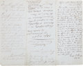 Autographs:Military Figures, Letter Endorsed by Three Generals, concerning the arrest of a Confederate named Aldrich....