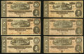 Confederate Notes:1864 Issues, T68 $10 1864, Six Examples.. ... (Total: 6 notes)