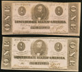 Confederate Notes:1863 Issues, T62 $1 1863, Two Examples.. ... (Total: 2 notes)