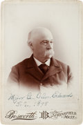 Photography:Cabinet Photos, Union General Oliver Edwards Cabinet Card Signed in 1898....