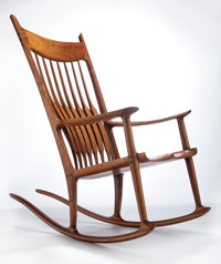 SAM MALOOF (American, 1916-2009) Rocker (No. 43), 1989 Walnut, ebony 45-1/2 x 26-1/4 x 44-3/4 inc